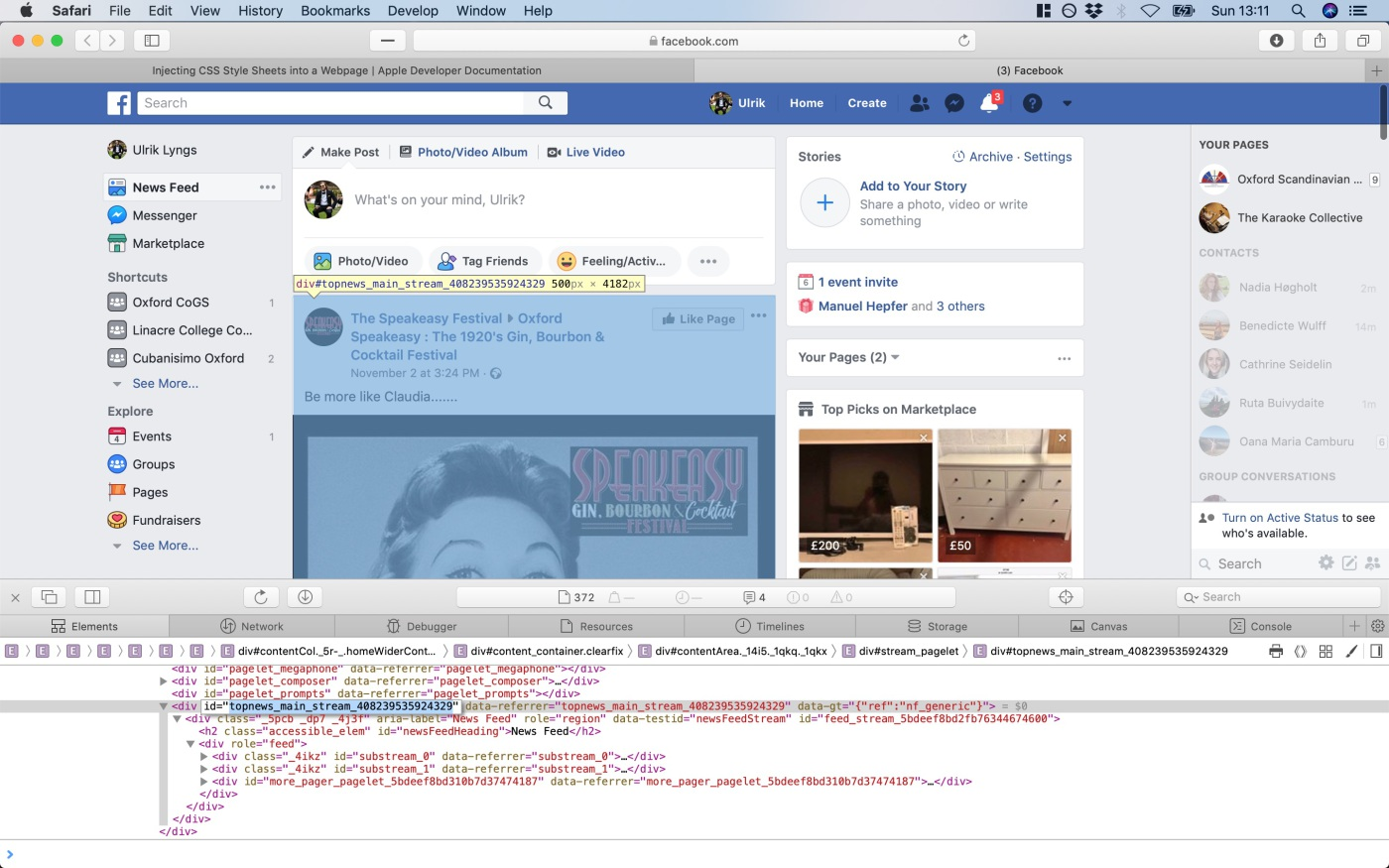 Inspecting Facebook HTML