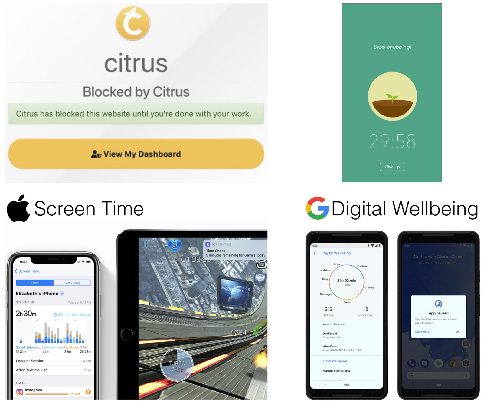 Many tools help support self-control over device use, using tricks such as blocking access to distracting websites (top left) or cutting down virtual trees if you use your smartphone during a focus session. Apple (bottom left) and Google (bottom right) recently begun to build similar functionality into their mobile operating systems.